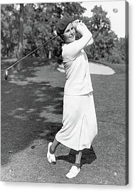 Helen Hicks Playing Golf Acrylic Print by Acme