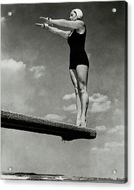 Helen Meany On A Diving Board Acrylic Print