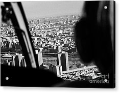 Helicopter Flies Over Harlem And East River New York City Acrylic Print