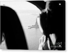 Helicopter  Flies Over Statue Of Liberty As Seen Through The Plexiglas New York Acrylic Print
