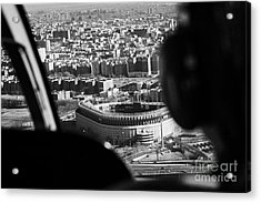 Helicopter  Flies Over Yankee Stadium New York City Acrylic Print