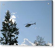 Helicopter Misses Tree Acrylic Print by Mavis Reid Nugent