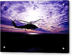 Helicopter Silhouette At Sunset Acrylic Print by Mountain Dreams