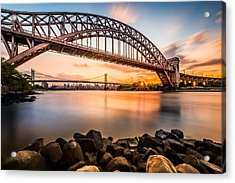 Hell Gate And Triboro Bridge At Sunset Acrylic Print