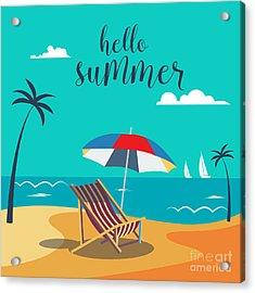 Hello Summer Poster. Tropical Beach Acrylic Print