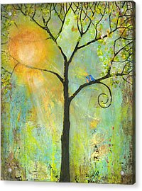 Hello Sunshine Tree Birds Sun Art Print Acrylic Print by Blenda Studio