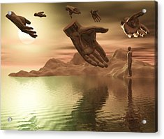 Acrylic Print featuring the digital art Helping Hands by John Alexander