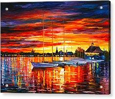 Helsinki Sailboats At Yacht Club Acrylic Print by Leonid Afremov