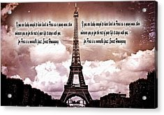 Hemingway And Paris Acrylic Print by Dan Sproul