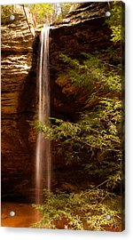 Acrylic Print featuring the photograph Hemlocks And Waterfall by Haren Images- Kriss Haren