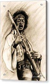 Hendrix-antique Tint Version Acrylic Print by Roz Abellera Art