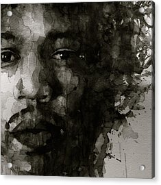 Hendrix   Black N White Acrylic Print by Paul Lovering