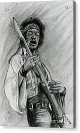 Acrylic Print featuring the drawing Hendrix by Roz Abellera Art