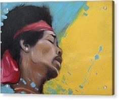 Hendrix Woodstock Acrylic Print by Matt Burke