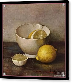 Henk Bos Fruits Still Life Lemons With White Bowl Acrylic Print by Pierpont Bay Archives