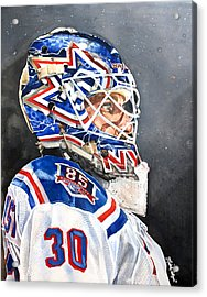 Henrik Lundqvist - New York Rangers Acrylic Print by Michael  Pattison