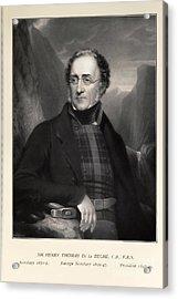 Henry De La Beche, English Geologist Acrylic Print