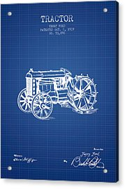 Henry Ford Tractor Patent  From 1919 - Blueprint Acrylic Print by Aged Pixel