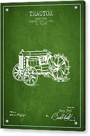 Henry Ford Tractor Patent  From 1919 - Green Acrylic Print