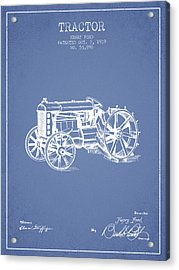 Henry Ford Tractor Patent  From 1919 - Light Blue Acrylic Print