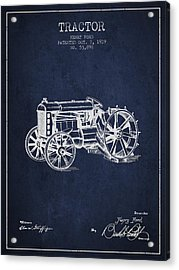 Henry Ford Tractor Patent  From 1919 - Navy Blue Acrylic Print