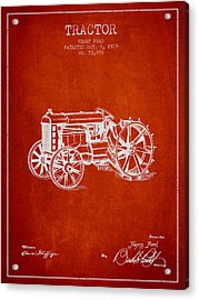 Henry Ford Tractor Patent  From 1919 - Red Acrylic Print