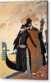 Her And Him Fashion Illustration Acrylic Print by Georges Barbier