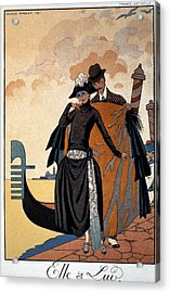 Her And Him Acrylic Print by Georges Barbier