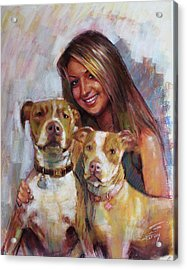 Acrylic Print featuring the drawing Her Best Friends by Viola El