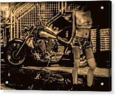 Her Bike Acrylic Print by Bob Orsillo