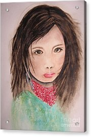 Acrylic Print featuring the painting Her Expression Says It All by Chrisann Ellis