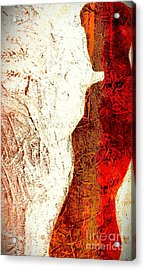 Her Red Silhouette Acrylic Print by Jacqueline McReynolds