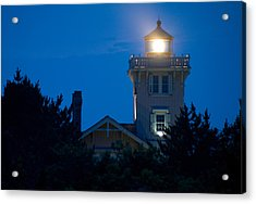 Acrylic Print featuring the photograph Hereford Inlet Lighthouse At Dusk by Greg Graham