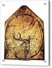 Hereford Mappa  Mundi 1285 Large Border Upsized Acrylic Print by L Brown