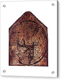 Hereford Mappa Mundi 1300 Medium White Border Acrylic Print by L Brown