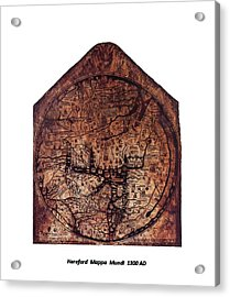 Hereford Mappa Mundi 1300 Text Label Medium White Border Acrylic Print by L Brown