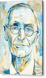 Hermann Hesse Watercolor Portrait.2 Acrylic Print by Fabrizio Cassetta