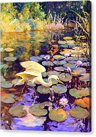 Heron In Lily Pond Acrylic Print