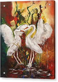 Heron Meeting Acrylic Print