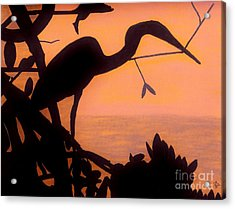 Acrylic Print featuring the drawing Heron Sunset by D Hackett