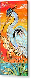 Heron The Blues Acrylic Print by Robert Ponzio