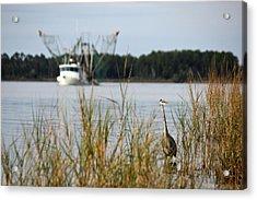 Heron Wading With Passing Shrimp Boat Acrylic Print