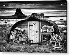Herring Boat Hut Lindisfarne Monochrome Acrylic Print by Tim Gainey