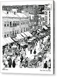 Acrylic Print featuring the drawing Hester Street by Ira Shander