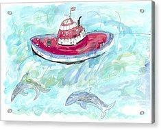 Hi Tide Acrylic Print by Helen Holden-Gladsky