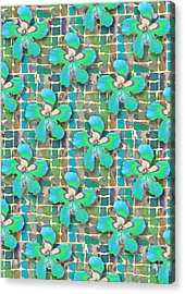 Hibiscus Blue Water Acrylic Print
