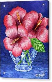 Hibiscus In Glass Vase Acrylic Print