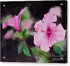 Acrylic Print featuring the painting Hibiscus - So Pretty In Pink by Sher Nasser