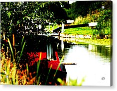 Hidden Barge Acrylic Print by David Wood