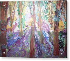 Acrylic Print featuring the painting Hidden Forest Fairies by Judith Desrosiers